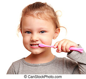 Smiling girl child brushing teeth Isolated closeup portrait