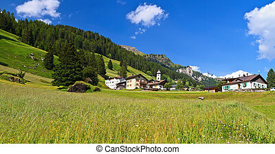 Penia - Fassa Valley - panoramic view of Penia village in...