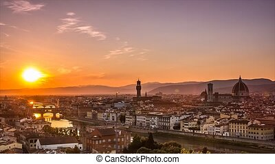 florence skyline sunset to night - florence historical town...