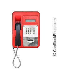 Red pay-phone isolated on white - Red urban dirty payphone....