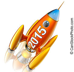 rocket - 3d rendering of a rocket with a 2015 icon