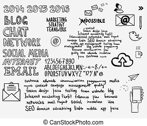 Hand draw doodle sketch mind map blank flow chart space for text with keywords. Concept business blog internet seo programming marketing web project