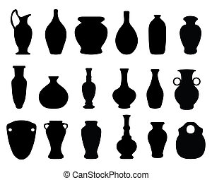vases and jars - Black silhouettes of the vases and...