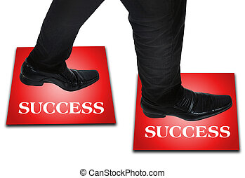 Business man step - Isolated young business man foot step