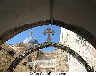 Part of via dolorosa in Jerusalem, near The Church of the...