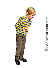 Isolated young boy - Young boy on white