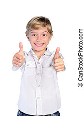 Young boy agree on white background