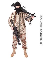 terrorist with machine gun