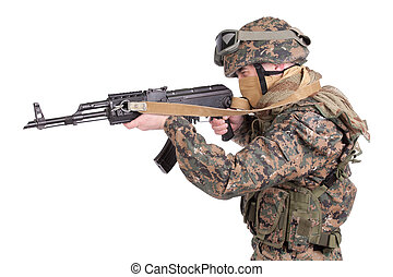 US MARINES with kalashnikov assault rifle