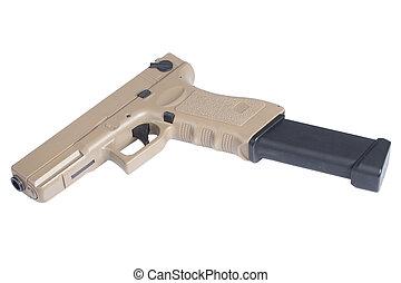 pistola, blanco, automático, aislado, Plano de fondo