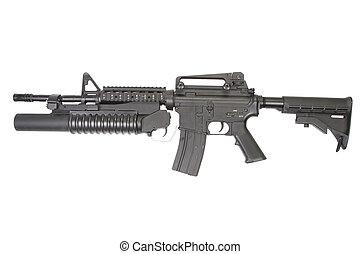 lançador,  carbine, granada, equipado,  m203,  m4a1