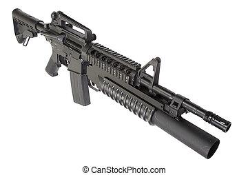M4A1, carbine, equipado, M203, granada, lançador