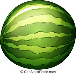 A watermelon - Illustration of a watermelon on a white...