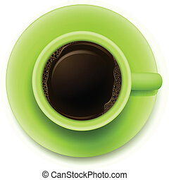 A topview of a green cup with coffe - Illustration of a...
