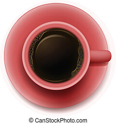 A topview of a red cup with coffee - Illustration of a...