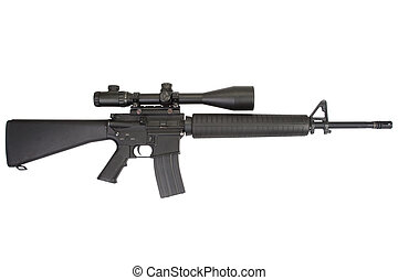 m16 rifle with telescopic sight isolated on a white...