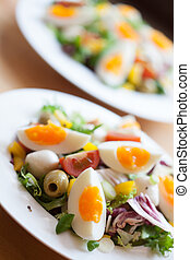 Two bowls of delicious fresh salad with mozzarella, eggs, olives