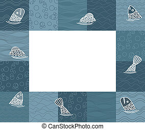 Baby photo frame or card with fishes. Vector