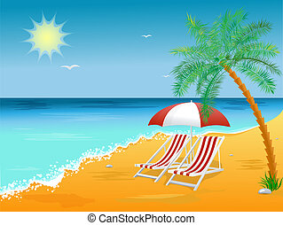 Summer holidays beach background poster with chair