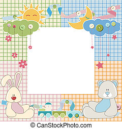 Baby frame or card with rabbit and bear. Vector illustration