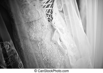 Wedding dress close-up in black and white.