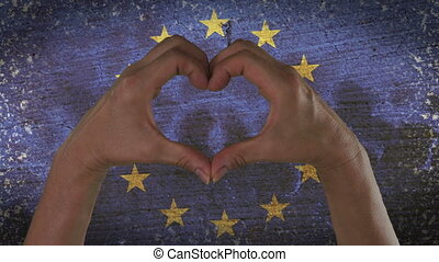 Hands Heart Symbol European Flag - With a stylized European...