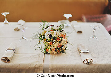 bridal bouquet on a table