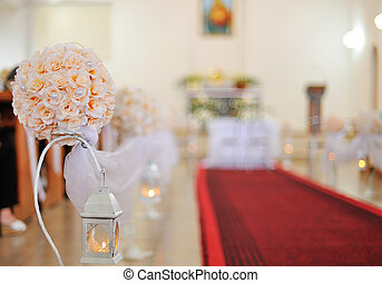 Wedding ceremony in church with red carpet