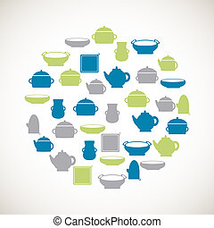 Kitchen colorful icons