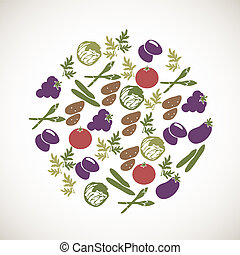 Colorful vegetables icons