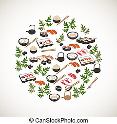 Colorful japanese food icons