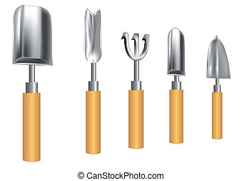 gardening tools isolated on a white background