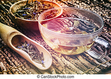 Cup of hot green tea with dry leaves