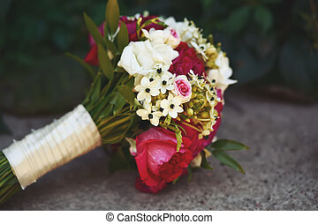 bouquet made of peonies and freesia - bridal bouquet made of...