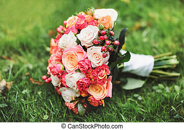 Bridal bouquet of various flowers - Beautiful Bridal bouquet...