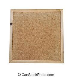 Square cork-board on white background