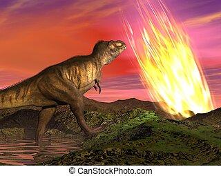 Extinction of dinosaurs - 3D render - Meteorite falling on...