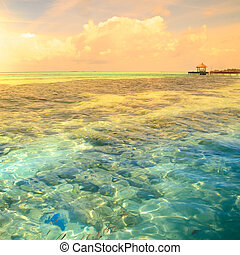 Tropical blue sea water - Beautiful sunset on a tropical...