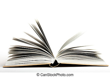 open book on white background studio shot