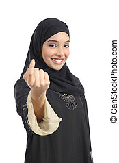 Arab saudi emirates woman gesturing beckoning isolated on a...