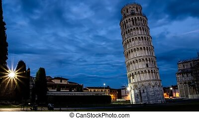 leading tower pisa night to day