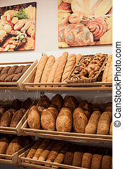 Window of a bakery Brown breads and different bakery