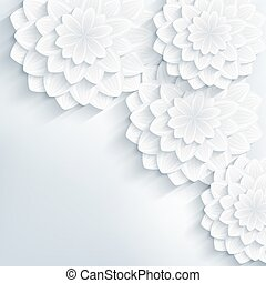 Floral trendy abstract background with 3d flowers - Floral...