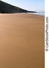 Undisturbed Smooth Shoreline of Sandy Beach at Low Tide -...