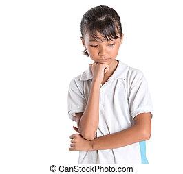 School Girl In School Uniform - Young Asian school girl in...