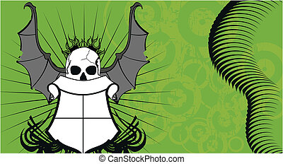 skull bat wings tattoo4