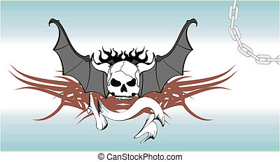 skull bat wings tattoo8