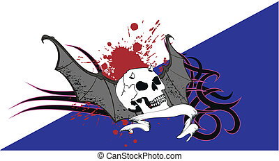 skull bat wings tattoo9