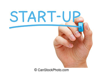 Start-up Blue Marker - Hand writing Start-up with blue...