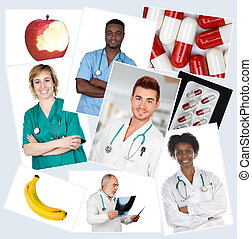 Collage of many photos with doctors